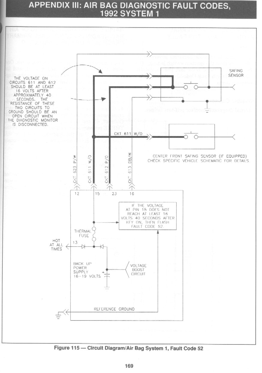 1992 Mustang Air Bag Schematic for Code 52